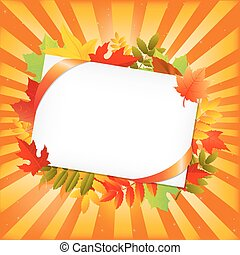 Autumn Leafs And Blank Gift Tag, Isolated On White...