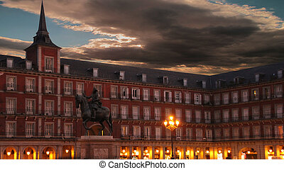 night famous Plaza Mayor Madrid Spain