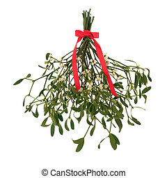 Mistletoe Magic - Mistletoe with berries and tied with a red...