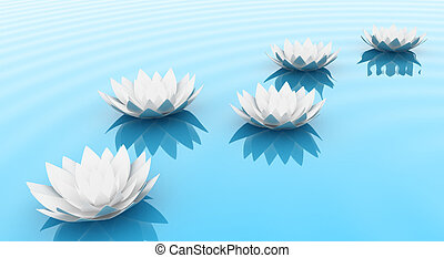 The flowers - Illustration of a flowers of a lily on water