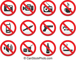 Prohibiting signs vector format set