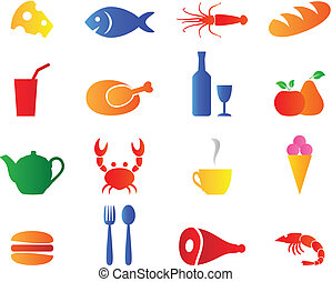 Set bright color food icons vector.