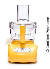 Food processor - Yellow food processor on white background