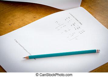 Math test - Open math test on desk