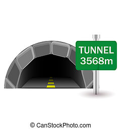 tunnel and sign