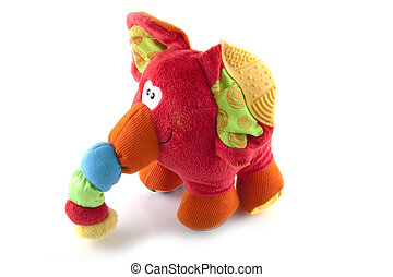 Plush elephant - Single plush elephant on white background.