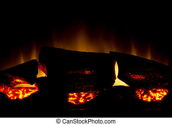 Glowing warm fireplace
