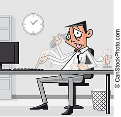Stressed overworked businessman - Illustraiont Stressed...