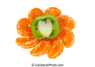 Ornament of the halves of fresh kiwi and tangerine slices on a white background