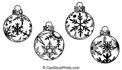 Christmas Ornaments Clipart - Christmas Ornaments Black and...