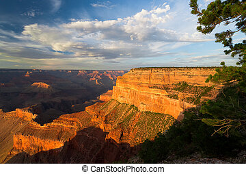 AZ-Grand Canyon--S. Rim-Pima Point - Summer sunset at Pima...