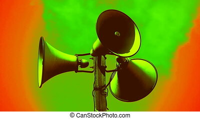 Horny reggae - Three megaphones with background turned...