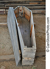 Wooden Coffin - An Old Wooden Coffin left open for display....