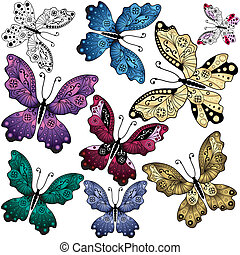 Set abstract butterflies - Collection abstract colorful...