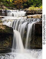 Upper Cataract Falls, Indiana - Water, with a silky smooth...