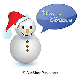 snowman with merry christmas sign