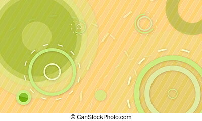 green orange circles and lines loop - computer generated...