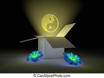 zen box - render of an open box with flowers and a yinyang...