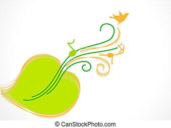 green sheet music, guitar, bird