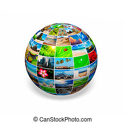 Photo globe - Concept - photo (picture) globe on white...