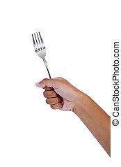 hand holding fork