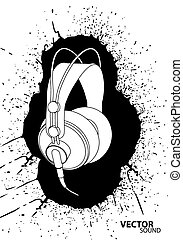 Vector headphones - Vector illustration (headphones on white...