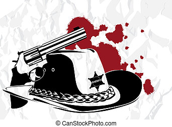 cowboy background - vector cowboy background (revolver and...