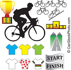 Cycle racing bikes, shirts and other illustrations