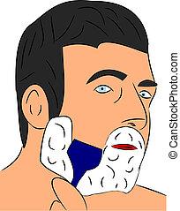 Shaving - A man shaving in the mirror vector