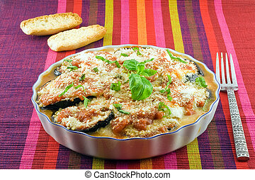 eggplants parmigiana with cheese and tomato traditional...