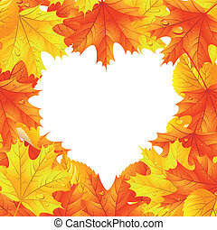 Maple leaves in the shape of heart - Autumn leaf background....