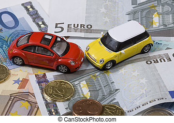 Toy cars in accident over money