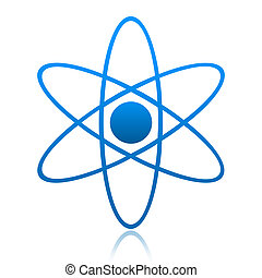 Atom Symbol - Abstract model of atom isolated over white...