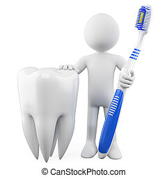 Dentist with a tooth and toothbrush. Rendered on a white...