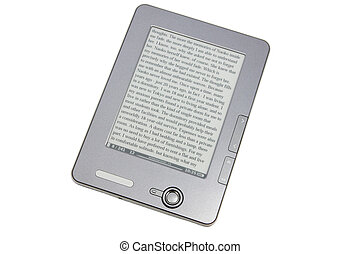 eReader on the white - gray eReader isolated on white