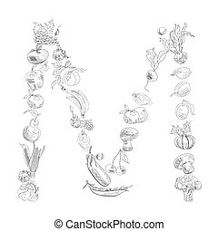 Decorative font, Letter M - Decorative font with fruit and...
