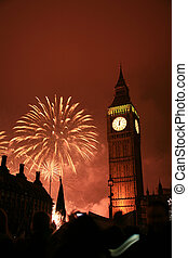 New Years Eve Fireworks - 2011, Fireworks over Big Ben at...