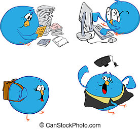 Four blue birds and learning - Four blue birds do their...