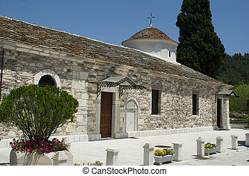 Small byzantine church of stone on Thassos island, Greece