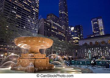 Bryant park at night - Bryant park in the midtown Manhattan...