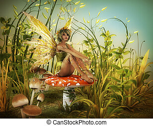 Enjoy the last Sunbeams - a little fairy is sitting on a fly...