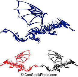 Asian tattoo dragon. - Flying Dragon. Blue, red and black...