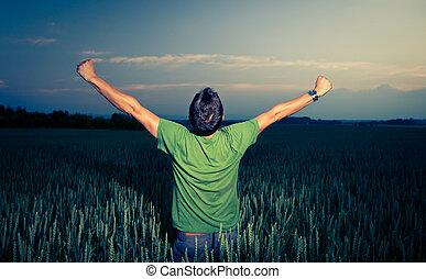jeune, homme, apprécier, sien, freedom/rejoicing,...