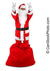 Funny santa isolated on white - Funny santa claus isolated...
