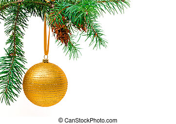 Decorative Christmas ball hangs on the Christmas tree