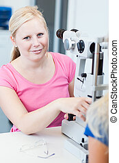 optometry concept - female patient
