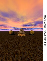 landscape - pyramid and balls yellow