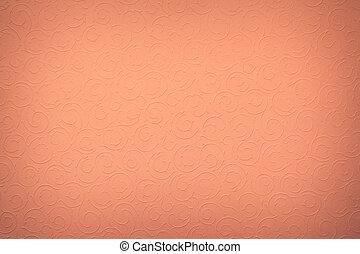 dark orange/pink background with round organic ornaments