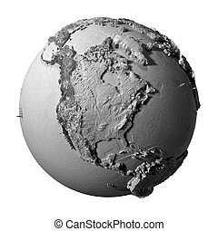 Gray Globe - North America - Realistic model of planet earth...