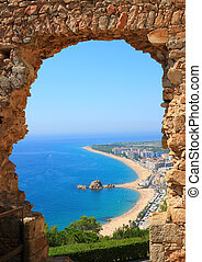 Blanes view (Costa Brava, Spain) - Blanes beach view through...